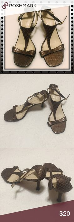 "Antonio Melani Scale Patterned Heels Antonio Melani brand scale patterned heels. Size 8.5. Belt buckle closure. Used, in good condition, with signs of wear. Bottom of soles are scuffed. Heels are approximately 3.5"" high. ANTONIO MELANI Shoes Heels"
