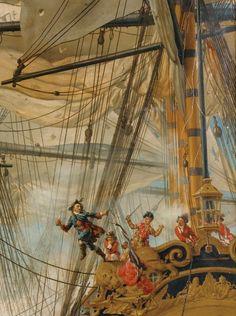 """LOUIS-PHILIPPE CRÉPIN PARIS  LE COMBAT DU """"LYS"""" ET DE LA """"GLOIRE"""" CONTRE LE """"CUMBERLAND"""" 1827"""