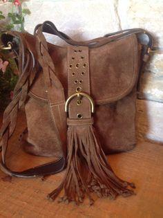 COACH Suede Leather Soho Fringe Braided Strap Whipstitch Flap Shoulder Bag 9484  #Coach #MessengerCrossBody