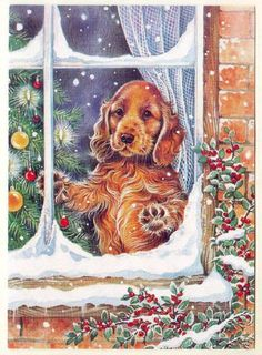 Christmas Cocker Spaniel (a cocker is for all seasons) Christmas Scenes, Noel Christmas, Christmas Animals, Vintage Christmas Cards, Christmas Greeting Cards, Christmas Pictures, Christmas Greetings, All Things Christmas, Christmas Crafts