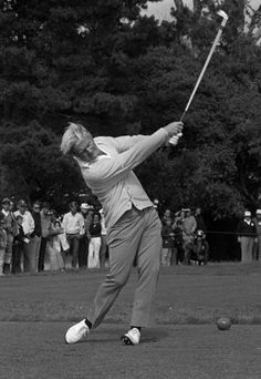 Jack Nicklaus lashes an iron off the 17th tee to the green during the final round of the U.S Open at Pebble Beach, Calif., June 19, 1972. #golf #nicklaus
