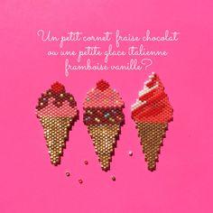 Broches en perles miyuki Jai réalisés 3 versions: -Glace cornet 1 boule fraise nappage chocolat -Glace cornet 2 boules fraise chocolat -Glace italienne Vous pouvez choisir dans longlet choix glace celle que vous desirez.  Bien sur si vous souhaitez un parfum particulier, nhesitez pas à me contacter pour une broche personnalisée. Elles sont faites à la main avec amour ♡♡♡ Chaque glace est monté sur une attache broche de 25mm.  Modèle original créé par a-bra-ca-da-bra  dimensions:  5,2cm* 2,2…