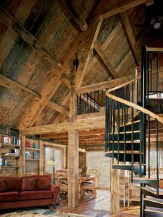 Because many of the structure's reclaimed timbers were shorter than needed, framer Derek Swanger often combined multiple timbers to make the beams and posts. DIStre sSed look Timber Stair, Timber Cabin, Timber House, Cabin Homes, Log Homes, Ideas De Cabina, Bed And Breakfast, Colorado Cabins, Recycled House
