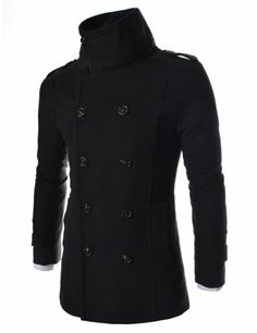 TheLees Mens Casual Slim Fit Double Breasted Button High Neck Wool Coat