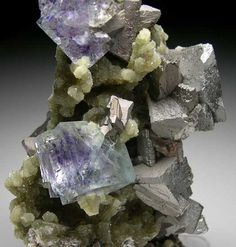 Fluorite, Arsenopyrite on Muscovite from Yaogangxian Mine, Hunan, China