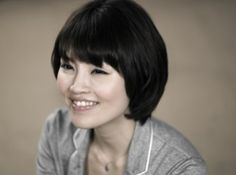 Cute bob hairstyle with cropped bangs for Asian women