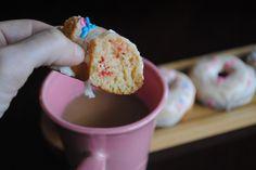 Cherry Donuts (Baked) with Vanilla Glaze