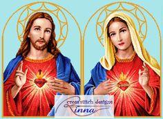 Twin Hearts- Jesus and Mary Cross Stitch Pattern