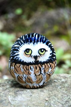 Hand Painted Owl Rock.