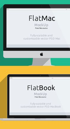 iMac & Macbook Psd Flat Mockup, Ultimate Collection of 500+ Free Mockup Templates