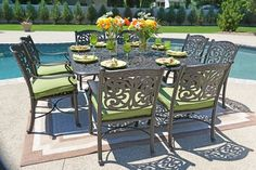 The Byanca Collection 8-Person All Welded Cast Aluminum Patio Furniture Dining Set new for Fall.
