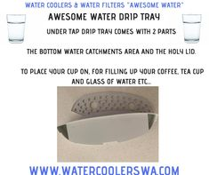 AWESOME WATER DRIP TRAY under tap drip tray comes with 2 parts the bottom water catchments area and the holy lid to place your cup on, for filling up your coffee, tea cup and glass of water etc.... Double Swing, Water Drip, Water Coolers, Drip Tray, Water Filter, Tea Cups, Coffee, Awesome, Glass