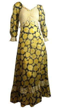 Lace and Floral Print Festival Chic Maxi Dress circa 1970s Gunne Sax - Dorothea's Closet Vintage