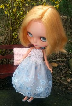 Light blue and white DRESS for Blythe and by ZomiDollClothes