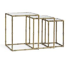 McKinley Nesting Tables #potterybarn What about using these as the end table (the largest nested with the medium size ... you could use the little one at the other end near the front door as a drinks perch if you want)