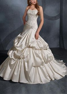 STUNNING SATIN STRAPLESS TIERED WEDDING GOWN LACE BRIDESMAID PARTY COCKTAIL GOWN FORMAL BRIDAL PROM CUSTOM