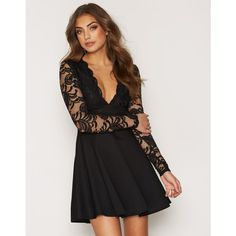Nly One Lace Top Skater Dress (£38) ❤ liked on Polyvore featuring dresses, black, party dresses, womens-fashion, deep v neck skater dress, deep v neck dress, deep v neck lace dress, tall dresses and lacy dress