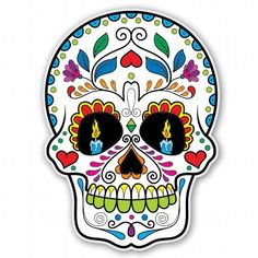 Sugar Skull Print Home Décor Sweetness of Life by PrintzByNikki Sugar Skull Artwork, Sugar Skull Painting, Clear Stickers, Vinyl Wall Stickers, Caveira Mexicana Tattoo, Candy Skulls, Sugar Skulls, Day Of The Dead Art, Sugar Skull Tattoos