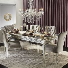 Z Gallerie's Sophie Mirrored Dining Table exudes sophistication & elegance! Complete the look by pairing with our tufted velvet Lola Dining Chairs. Formal Dining Tables, Dining Room Table Decor, Decoration Table, Dining Room Design, Dining Room Furniture, Dining Chairs, Room Decor, Mirror Dining Table, Dining Set