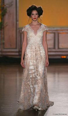 claire pettibone fall 2016 bridal new york runway v neckline cap sleeves bronze color embroidery overlay flowy dress over sheath gown la belle