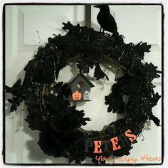 Black Leaf Halloween Wreath by Navy Wifey Peters