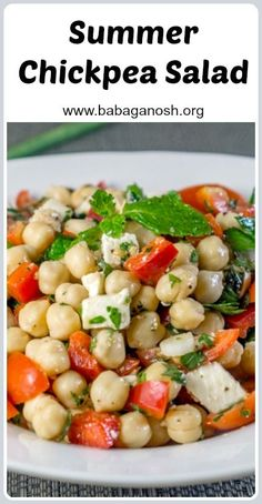 Summer Chickpea (Garbanzo) Salad with fresh herbs and feta cheese - a quick and easy gluten-free healthy salad recipes that tastes GOOD. #chickpeas #chickpeasalad #feta #bellpeppers #glutenfree #saladrecipes #healthysalads #healthyeating #cleaneating #fetacheese #garbanzo