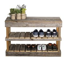 Barnwood 8 Paired Shoe Storage - Rack -D - basement - build 2xs length use to sit on to remove , hooks above