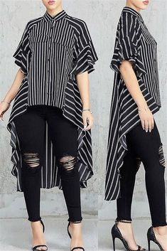 Casual Asymmetrical Striped Black Blouse in 2020 Night Out Outfit, Stripes Fashion, Blouses For Women, Ladies Blouses, Chic Outfits, Work Outfits, Fashion Boutique, Boutique Clothing, African Fashion