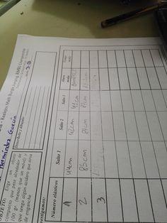 Primer día: En primer lugar teníamos una ficha donde anotar nuestras mediciones.
