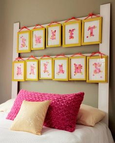 In the below project, we have presented a unique and creative idea to create an inexpensive custom headboard for your bedroom or your kid's bedroom. You can utilize old picture frames and repurposed lumber into a modified headboard for a little girl's bedroom. Create your own personalized message or spell out your child's name.