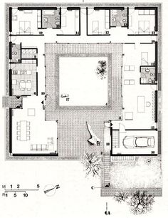 For Oahu architectural design visit ownerbui New House Plans, Modern House Plans, Small House Plans, Modern House Design, House Floor Plans, U Shaped Houses, Hacienda Style Homes, Architectural Floor Plans, Casa Patio