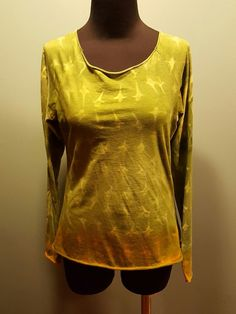 Marika Charles Olive Green Gold White Tie Dye Boho Hippie Knit T Shirt Top L Euc #MarikaCharles #KnitTop #Casual $19.99