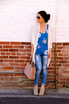 Perfect silky floral tank, open sweater, neutral classic accessories. Perfect.