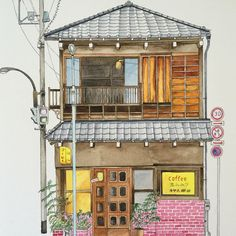 New House Drawing Architecture Building Ideas Building Illustration, House Illustration, Watercolor Illustration, Watercolor Art, Illustrations, Watercolor Japan, House Sketch, House Drawing, Japanese House