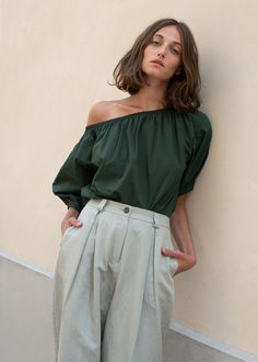 Pine Green Off-the-Shoulder Top with Puff Sleeves – The Frankie Shop Hot Weather Outfits, Mein Style, Fashion Beauty, Womens Fashion, Summer Outfits Women, Off Shoulder Tops, Dress To Impress, Style Inspiration, Stylish