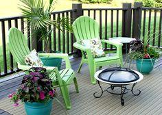 Deck idea! Bright colored chairs (already found some at Fleet Farm) and bright pots! These colors match our apartment too! I would want a table inbetween the chairs though!!