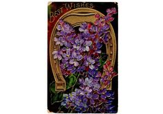 Vintage 1910s Best Wishes Greetings Postcard Gold Horseshoe Purple Flowers