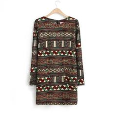 fd9c37fa983b New Retro Ethnic Geometric Floral Print Crew Neck Long Sleeve Mini Short  Dresses