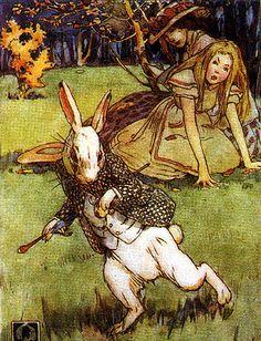 art, illustration, animal, white rabbit, figure, girl, front, leaning, alice in wonderland