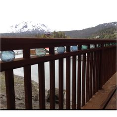 Halibut Cove, glass Floats in railing