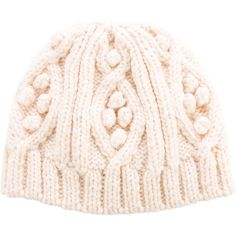 Pre-owned Burberry London Merino Wool Cable Knit Beanie ($95) ❤ liked on Polyvore featuring accessories, hats, neutrals, merino hat, beanie cap hat, burberry, merino wool beanie and cream hat
