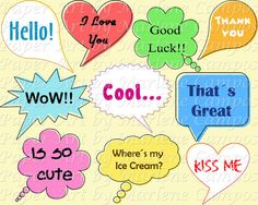 INSTANT DOWNLOAD  Speech Bubbles digital clip art by PaperArtbyMC, $4.99