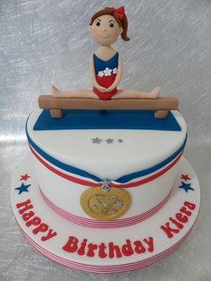 This cake is in England colours but would be nice in birthday girl's fave colour or her gymnastic clubs colours - No 3