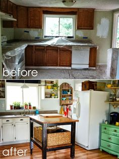 kitchen cabinets: remove doors & paint white