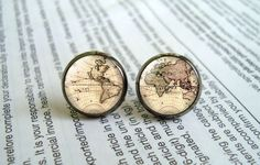 Vintage World Map Stud Earrings Retro Vintage by EarringWorld1, $7.00