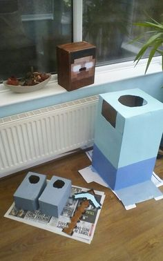 Minecraft herobine costume made from boxes....