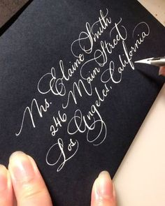 No time lapse: our Alegria font written with Dr. Martins Pen-White ink with hunt 513 nib on navy blue envelopes. Copperplate Calligraphy, Calligraphy Handwriting, Calligraphy Letters, Wedding Calligraphy, Modern Calligraphy, Penmanship, Hand Lettering Fonts Free, Hand Lettering Envelopes, Calligraphy Envelope