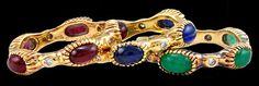 CARTIER 3pcs. Cabochon Ruby,Sapphire & Emerald Wedding Ring - Yafa Jewelry