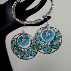 Texas Woman Studio by Texaswoman Beach Jewelry, Jewelry Art, Gemstone Jewelry, Unique Jewelry, Green Turquoise, Turquoise Stone, Silver Hoop Earrings, Dangle Earrings, Sea Turtle Art