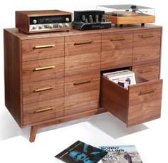 Atocha Design's Record Cabinet. beautiful storage for your CD's and LP's.